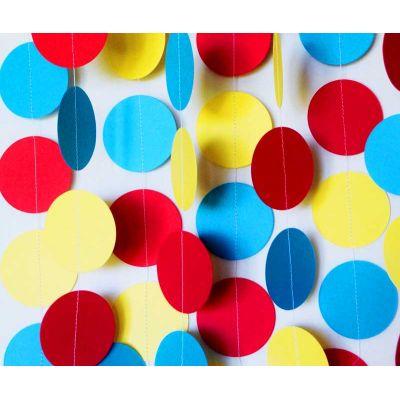 Гирлянда-круги красный, голубой, желтый