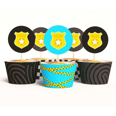 """Набор для капкейков """"Полицейская вечеринка"""" значок, отпечатки"""