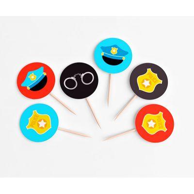 """Топперы круглые """"Полицейская вечеринка"""" значок, мини"""