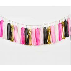 Тассел гирлянда из кисточек розовый, белый, золотой, черный цвет