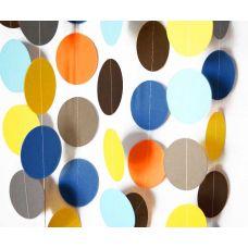 Гирлянда-круги. Серый. Темно-синий. Голубой. Желтый. Оранжевый. Коричневый