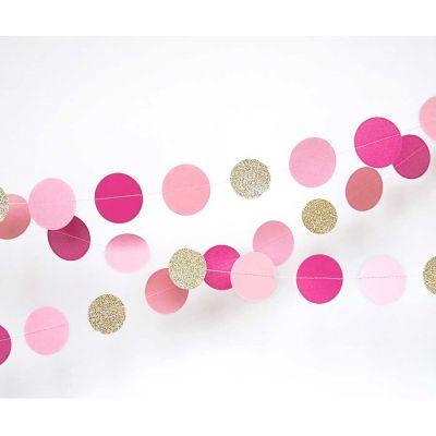 Гирлянда-круги. Розовый. Фуксия. Золото-блестки