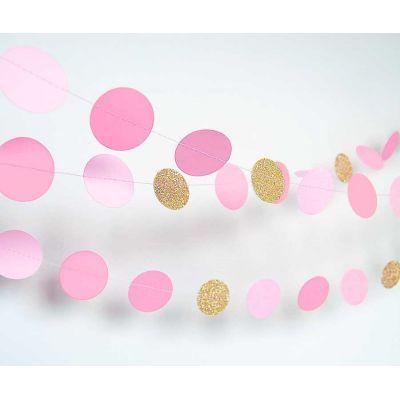Гирлянда-круги. Оттенки розового. Золото-блестки