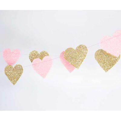 Гирлянда-сердцe. Оттенки розового. Золото-блестки