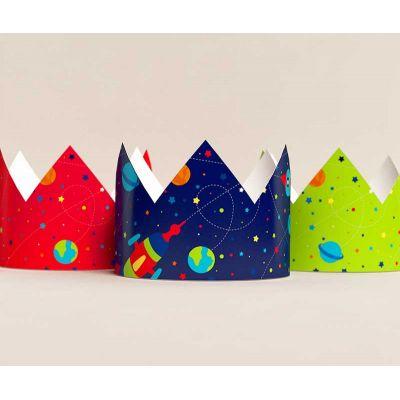 """Короны """"Космос"""" синяя, красная, салатовая"""