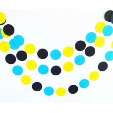 Гирлянда-круги. Черный. Желтый. Голубой