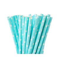 Трубочки бумажные. Голубые с белыми звездами