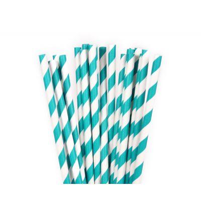 Трубочки бумажные. Синяя полоска