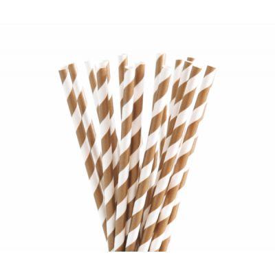 Трубочки бумажные. Коричневая полоса