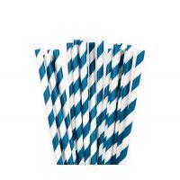 Трубочки бумажные. Темно-синяя полоса