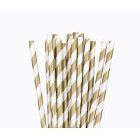 Трубочки бумажные. Золотая полоса