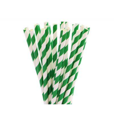 Трубочки бумажные. Зеленая полоска