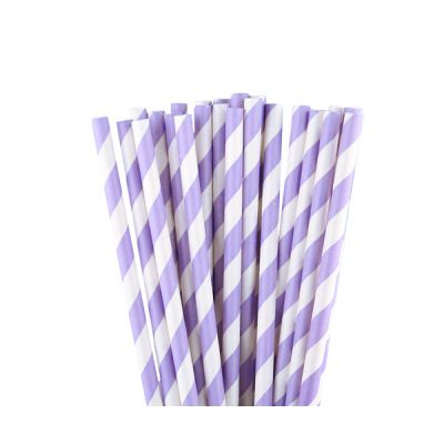 Трубочки бумажные. Сиреневая полоска