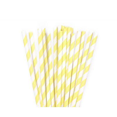 Трубочки бумажные. Лимонная полоска