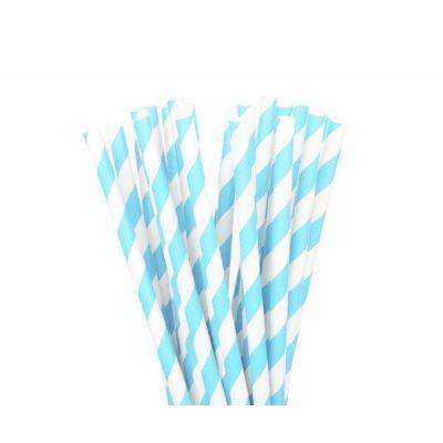 Трубочки бумажные. Голубая полоса