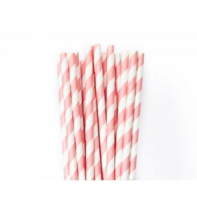 Трубочки бумажные. Светло-розовая полоска