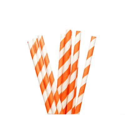 Трубочки бумажные. Оранжевая полоска