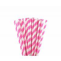 Трубочки бумажные. Розовая полоска