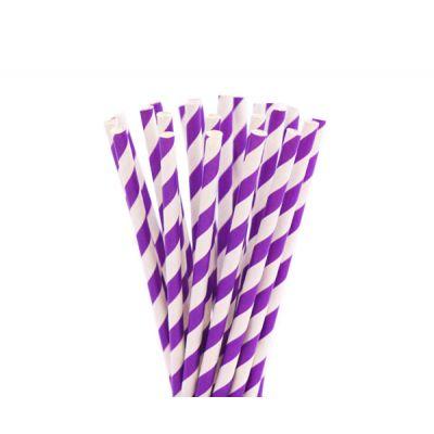 Трубочки бумажные. Фиолетовая полоска