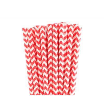 Трубочки бумажные. Красный шеврон