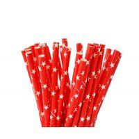 Трубочки бумажные. Красный с белыми звездами