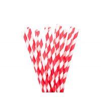 Трубочки бумажные. Красная полоска