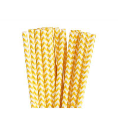 Трубочки бумажные. Желтый шеврон