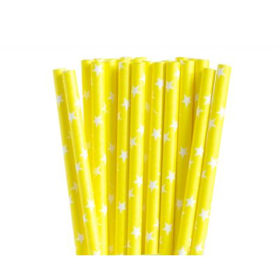 Трубочки бумажные. Желтые с белыми звездами