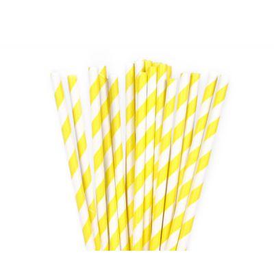 Трубочки бумажные. Желтая полоска
