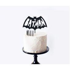 """Топпер черный акриловый для торта """"Бэтмен"""" Batman"""