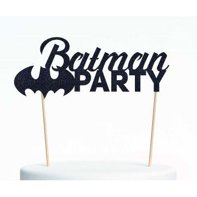 "Топпер для торта ""Бэтмен-1"", покрытый черными блестками"