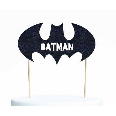 "Топпер для торта ""Бэтмен-2"", покрытый черными блестками"