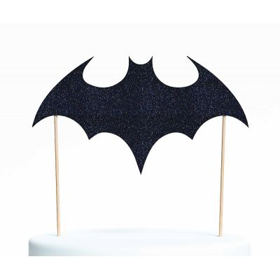 "Топпер для торта ""Бэтмен-3"", покрытый черными блестками"