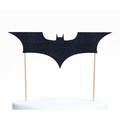 "Топпер для торта ""Бэтмен-4"", покрытый черными блестками"
