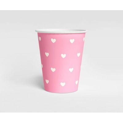Стаканчик розовый Белые сердечки