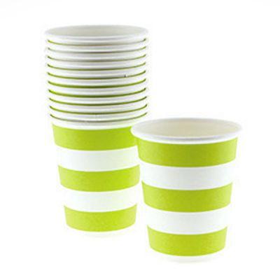 Стаканы бумажные одноразовые, салатовая полоска