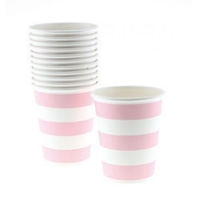 Стаканы бумажные одноразовые, розовая полоска