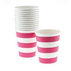 Стаканы бумажные одноразовые, ярко-розовая полоска