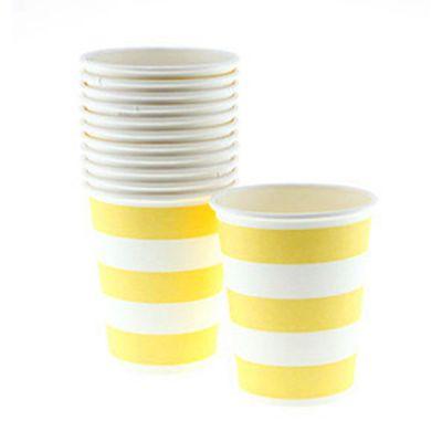 Стаканы бумажные одноразовые, желтая полоска