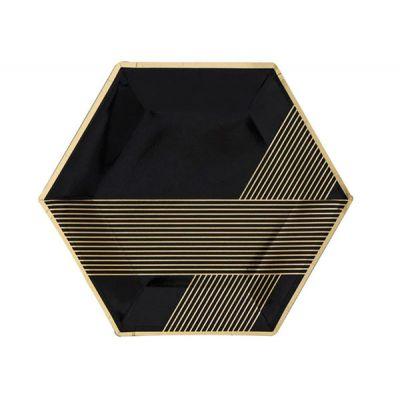 Тарелки черные с золотыми полосами модерн