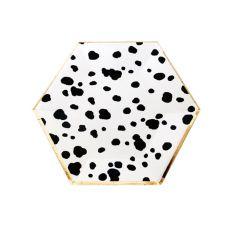 Тарелки пятнистые многоугольные черно-белые