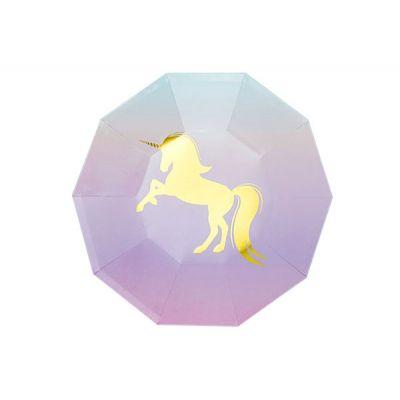 """Тарелки """"Единорог"""" многоугольные золотые, градиент"""