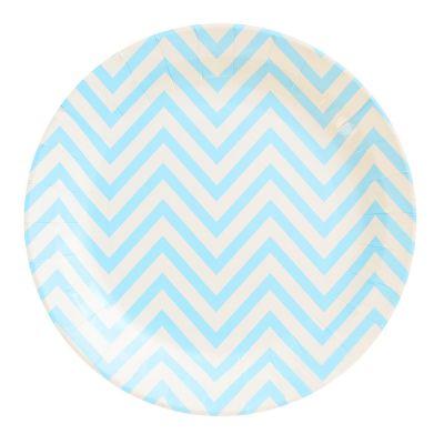 Тарелки бумажные одноразовые. Голубой шеврон