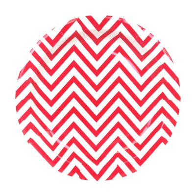 Тарелки бумажные одноразовые. Красный шеврон