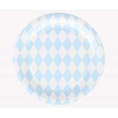 Тарелки бумажные одноразовые. Голубые ромбы. 21 см.