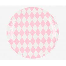 Тарелки бумажные одноразовые. Розовые ромбы. 21 см.