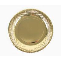 Тарелки золотые плиссе. 23 см., 6 шт