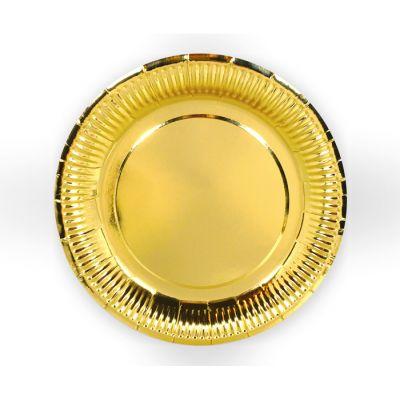 Тарелки бумажные одноразовые золотые