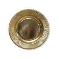 Тарелки золотые плиссе. 25 см., 8 шт