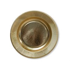 Тарелки бумажные одноразовые золотые 25 см плиссе